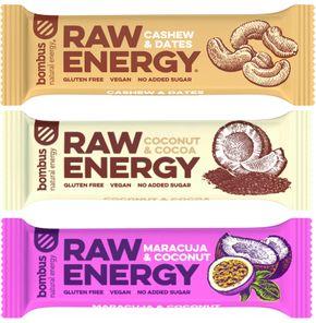 Bombus Raw Energy kešu/datle, marakuja/kokos, kokos/kakao 3 x 50 g
