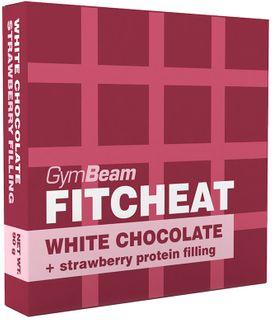 GymBeam Fitcheat Protein Chocolate bílá čokoláda/jahoda 90 g