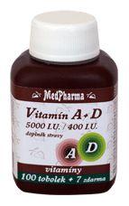 MedPharma Vitamín A+D (5000 I.U.-400 I.U.) 100 + 7 kapslí ZDARMA
