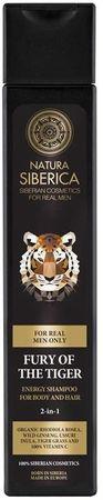 Natura Siberica MEN Energizujúci šampón na vlasy a telo 2 v 1 Neskrotnosť tigra